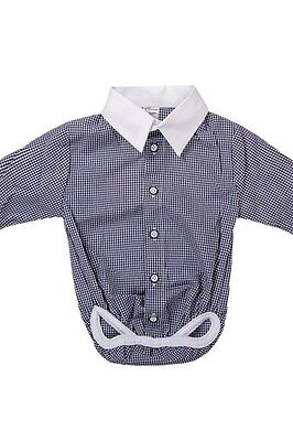 Baby Boy Checkered Formal Smart Shirt Bodysuit Vest Body 0 3 6 9 12 18M