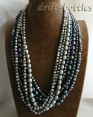 7Strands 26'' 11mm Black Gray Baroque Rice Round Freshwater Pearl Necklace
