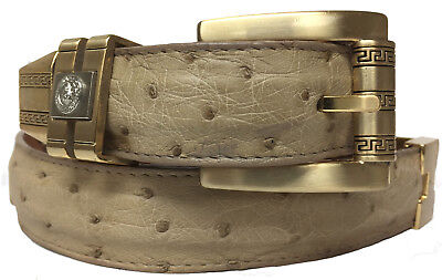 Men/'s Yellow Genuine Ostrich Skin Belt Western Wear Silver Buckle