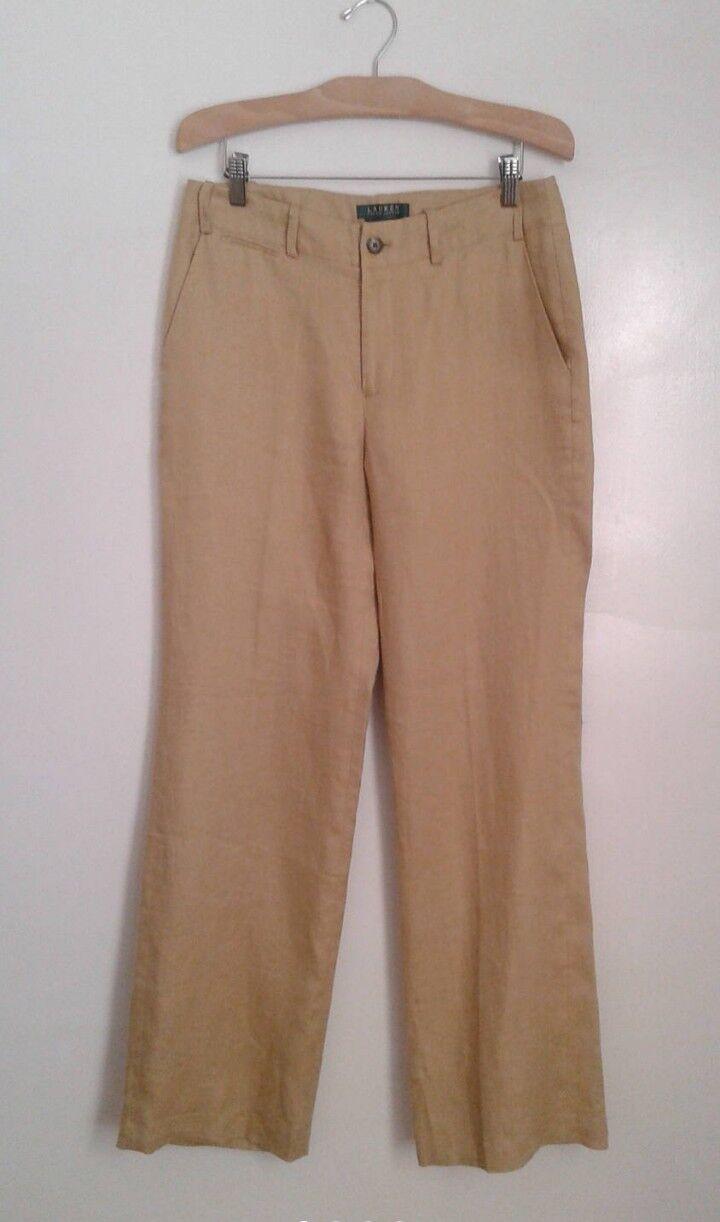 Ralph Lauren Sanderson Khaki Linen Flat Front Wide Leg Pants Trouser Sz 6 Preppy