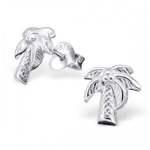 Image Is Loading Sterling Silver 925 Palm Tree Stud Earrings