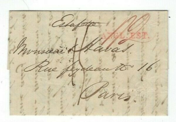 1831 London England Stampless à Paris, Rouge Straightline Angl-est