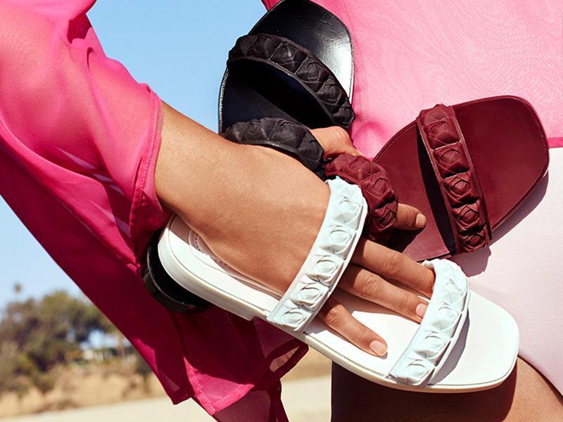 Stuart Weitzman Rosita doble correa sandalia de diapositiva blancoo Flor m
