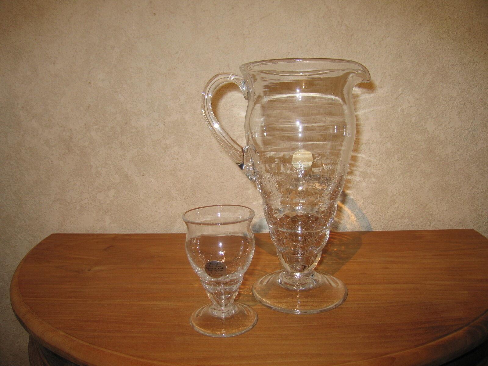 CRISTALLERIE DES PAPES NEW Set Pichet H.28cm + 6 Verres H.12,5cm Glasses