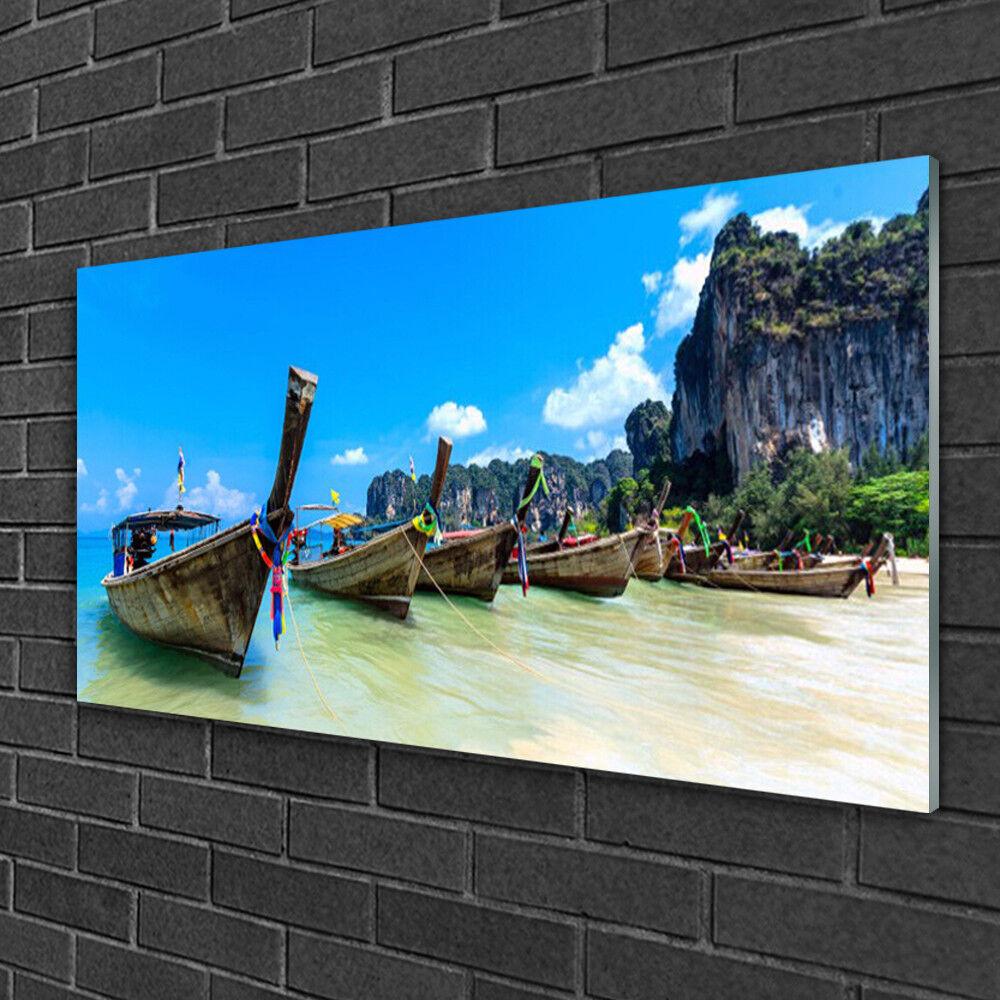 Image sur verre Tableau Impression 100x50 Paysage Bateaux Mer Plage