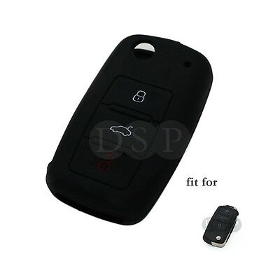 Silicone Cover Holder fit for VW VOLKSWAGEN Jetta Passat Golf Mk6 Flip Key 3B BK