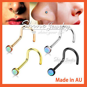 Titanium-Opal-Nose-Stud-L-Twist-Bend-Bone-Bar-316L-Steel-Pin-Body-Piercing-Ring