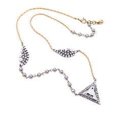 Modern Anthropologie Silver Aida Triangle Rhinestone Pearl Necklace