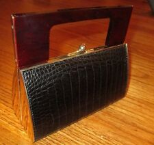 VINTAGE Black Crocodile embossed Leather LUCITE handle Handbag Purse