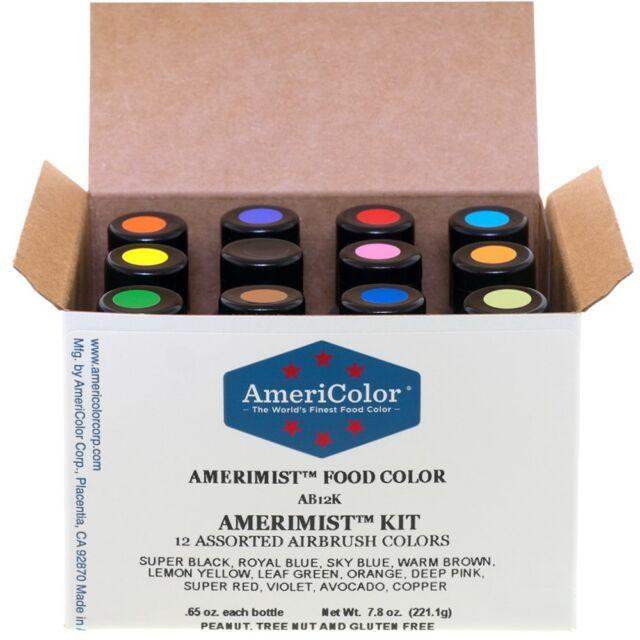 Food Coloring AmeriColor AmeriMist Airbrush Kit 12 .65 Ounce Bottles ...
