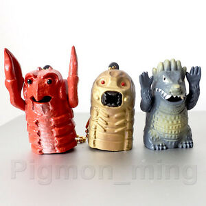 Takara Godzilla sparkie mini figure set of 3 Pcs. Mothra Larva Ebirah Angilas