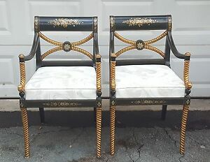 Details About PAIR FOURNIER STYLE HOLLYWOOD REGENCY EBONIZED PARCEL GILT  CARVED ROPE LEG CHAIR