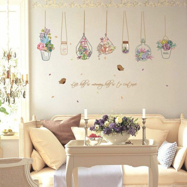 Cute Flower Plant Decorative Wall Sticker Window Kitchen Room Decor Home Decal b