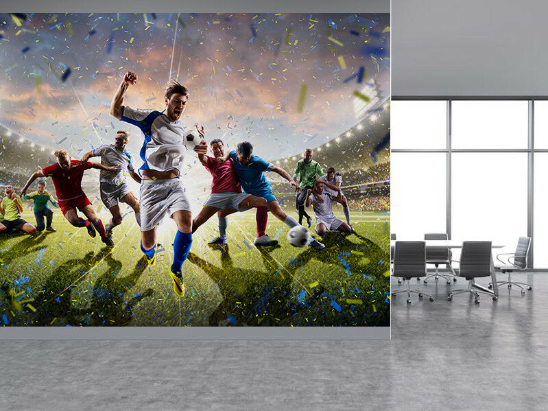 Soccer players in action on the stadium photo Wallpaper Wallpaper Wallpaper wall mural (60366674) 15eb32