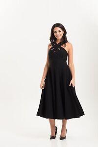 VOODOO-VIXEN-Ava-Black-Cross-Neck-Circle-Dress-DRA8571-Vintage-1950s-UK-8-16