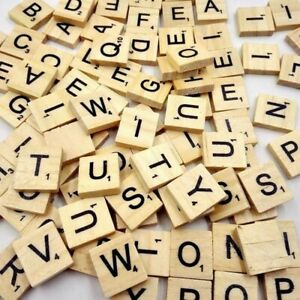 100 Wooden Alphabet Scrabble Tiles Black Letters /& Numbers Wood Complete
