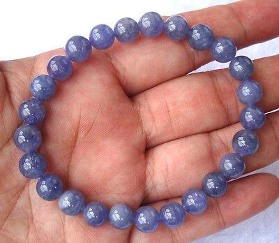 Natural Tanzanite Round Beads Stretch Bracele 8mm
