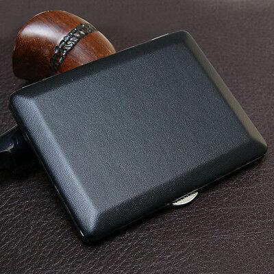 NEW Ultra-thin plain black leather cigarette case Holds 8 cigarettes #311C