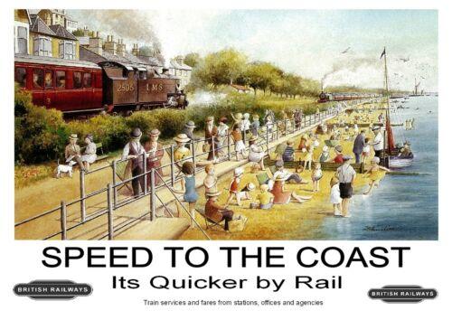 239 Vintage Railway Art Poster Speed To The Coast