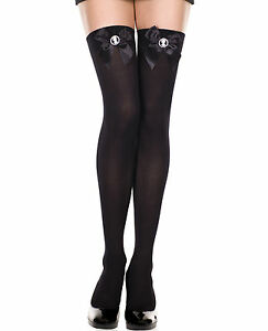 782f4df5875a6 Sexy Music Legs Black Opaque Thigh-High Stockings w Cameo on Black ...
