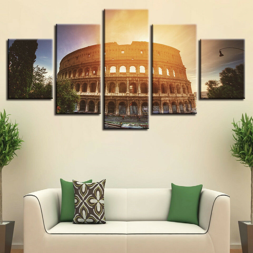 Rome Colosseum Sunrise Landscape 5 Panel Canvas Print Wall Art