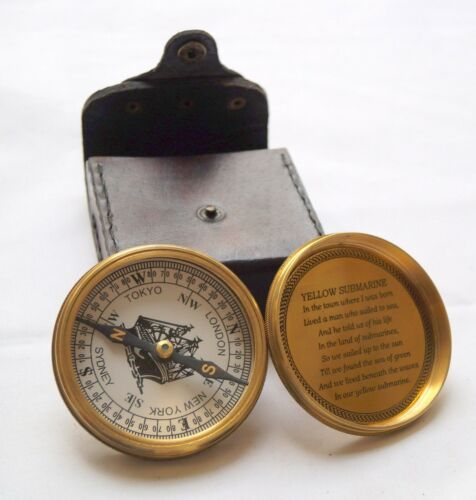 """10 Pcs Victorian Brass Golden Maritime Pocket 3/"""" Compass With Leather Box Case"""