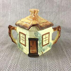 Vintage-Sugar-Pot-Lidded-Jar-Cottage-Ware-Hand-Painted-Twin-Handled