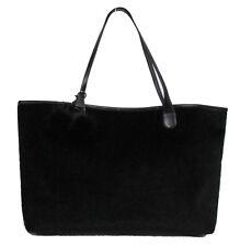 New Black faux leather Fur HANDBAG Shoulder BAG PURSE TOTE Hobo pom pom keychain