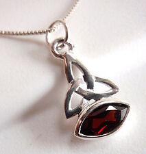 Celtic 8x4mm Marquise Red Garnet Pendant 925 Sterling Silver Corona Sun Jewelry