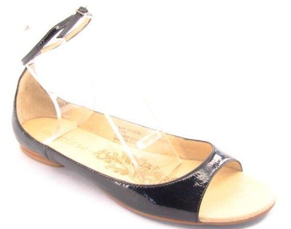Nouveau Femmes Matisse Noir Cuir Verni Plates Bout Ouvert Cheville Sandale Chaussure Sz 9 m