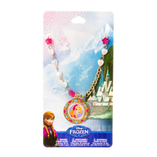 Disney Frozen Anna Pendant Necklace Gold Tone Heart Shaped Pearls & Flowers NWT