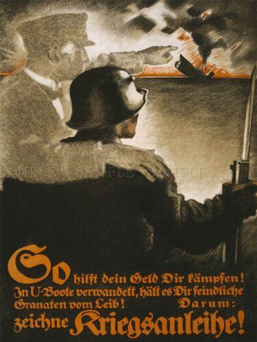 PROPAGANDA WAR GERMANY FUND RAISER BOND SOLDIER UBOAT ART POSTER PRINT LV7228