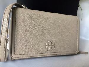 NWT-298-Tory-Burch-Thea-Flat-French-Gray-Leather-Wallet-Clutch-CrossBody-Bag