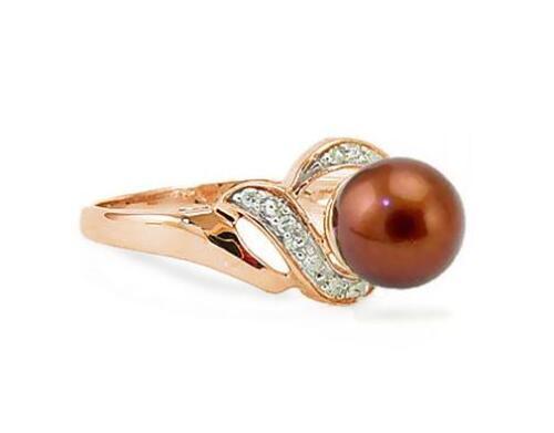 14K or Rose Perle Anneau Marron Chocolat Perle /& Diamant Accent Band .05 Ct