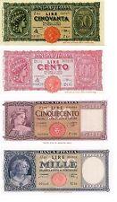 ITALIA TURRITA Luogotenenza 50,100,500,1000lire ornata perle(Riproduzione/copy)