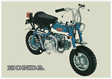 HONDA Poster Classic Z50A Z50 K2 Mini Monkey Bike Suitable to Frame BLUE #3