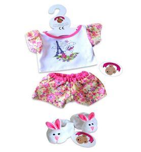 Teddy Bear Clothes fit Build a Bear Teddies Pink Piggy PJs Pyjamas Pig Slippers