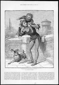 1884-FINE-ART-Antique-Print-Childhood-Hamlet-Illustrations-Dog-Yorick-142