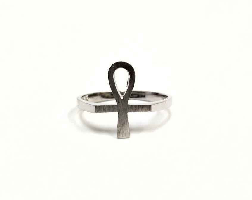 10k White gold Egyptian Ankh Ring Size 6 1 2
