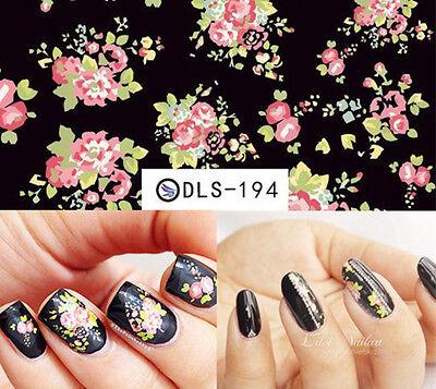 Nail Art Water Decals Transfer Stickers Bright Floral Pattern Sticker DLS194/195