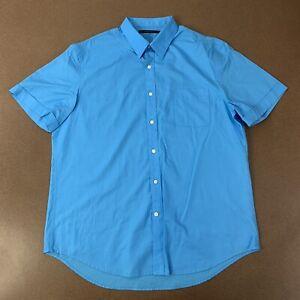 Perry-Ellis-Mens-XL-Blue-Short-Sleeve-Button-Front-Shirt