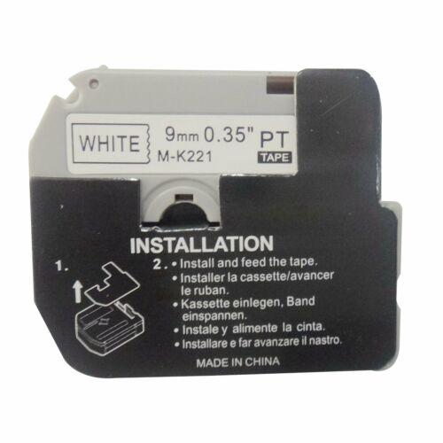 "3-Pk//Pack For Brother P-touch Label PT-65 70 M-K221 MK221 Black//White Tape 3//8/"""