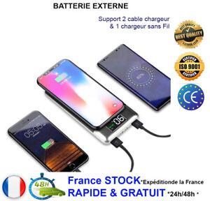 Batterie-Externe-Secours-2en1-Chargeur-rapide-Sans-Fil-USB-30000mAh-Power-Bank