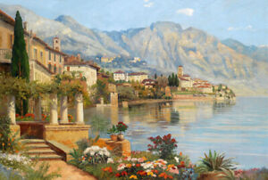 South-Mediterranean-landscape-Oil-painting-Giclee-Art-Printed-on-canvas-L2516