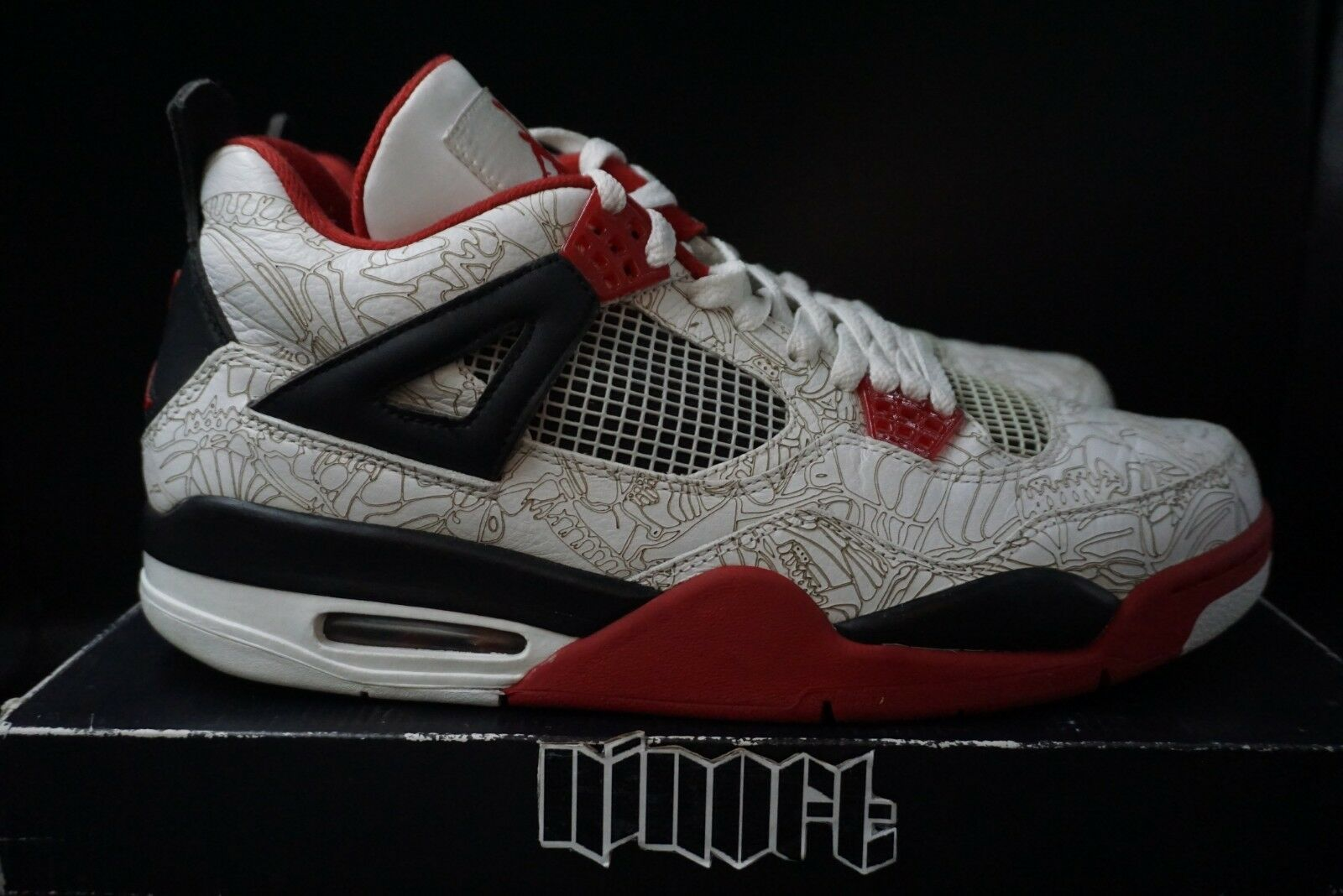 Air Jordan IV 4 Retro Weiß Laser 308497-161 fire rot