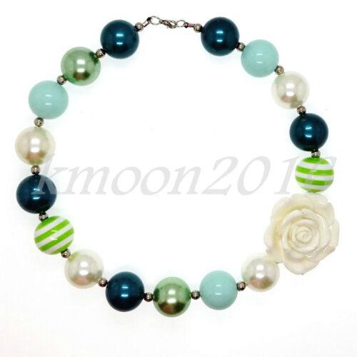 Nouveau vert grosses perles chewing-gum Gumball collier enfants cadeau blanc fleur rose