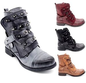 bottines lacets teinte vintage simili cuir vieilli chaussures boots femmes ebay. Black Bedroom Furniture Sets. Home Design Ideas