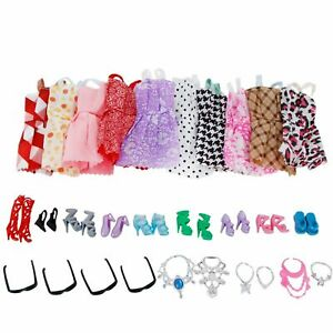 Clothes-And-Accessories-For-Barbie-Doll-30Pcs-Party-Dress-Outfit-Shoes-Necklaces