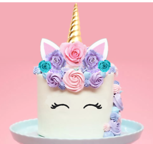 EDIBLE Unicorn Horn Birthday Party stand-up Cake Topper ...