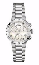 Bulova Women's 96R202 Diamond Chronograph Quartz Mother of Pearl Dial Watch